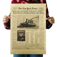 """The New York Times Vintage Kraft Paper Classic Movie Poster Magazine Art Cafe Bar Decoration Retro Posters and Prints"" New York Times, Movie Poster Room, Poster Wall, Vintage Wall Art, Vintage Posters, Retro Posters, Titanic, Cheap Home Decor Stores, Nostalgia"