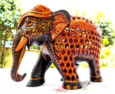 Painted Wooden Elephant Sculpture , Pregnant Mother Elephant Hand Carved Decorative Animal figurine, Collectable art deco gift Idea on Etsy, $55.00