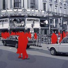 """Gérard Fromanger """"Bd Des Italiens"""" acrylique sur toile, 101 x 101 cm, 1976"""