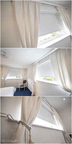 Combining curtains with roller blinds could be a good idea to enhance the cosiness in a bedroom. Made To Measure Blinds, Roller Blinds, Blinds For Windows, Curtains, Bedroom, House, Home Decor, Shades For Windows, Blinds