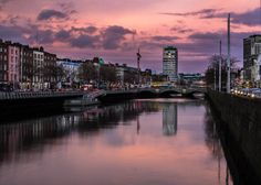 Walking over the Ha'Penny bridge and I had to stop for a second to picture this sky. This was handheld as I didn't have a tripod with me, I was still very happy with the final image. Dublin City, New York Skyline, Ireland, Places To Visit, Lights, Sunset, Tripod, Bridge, Pictures