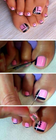Pink and Black Toes 18 DIY Toe Nail Designs for Summer Beach Easy Toenail Art Designs for Beginners Nail Designs Toenails, Toenail Art Designs, Cute Toe Nails, Pedicure Designs, Manicure E Pedicure, Toe Nail Art, Fancy Nails, Trendy Nails, Diy Nails