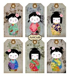 KOKESHI GIFT TAGS - Digital Collage Sheet printable download japanese dolls washi paper goods jewelry holders. $4.60, via Etsy.