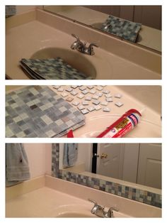 My apartment bathroom mirror makeover :). $25, about an hour, and removable if needed.:
