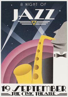 New Art Deco Design Illustration Vintage Posters Ideas Jazz Poster, Retro Poster, Vintage Posters, Vintage Art, Art Deco Artwork, Art Deco Posters, Art Deco Typography, Typography Poster, Art Deco Illustration