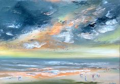 Enjoying the Sunset original oil painting Irish landscape seascape Irish Landscape, Irish Sea, Glorious Days, Beach Walk, Figurative Art, Ocean, Sunset, The Originals, Painting