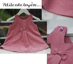 Jolie version de la robe trapèze des IPBB rajout pli plat sur le devant et décomptés nœud