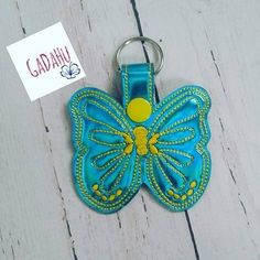 Butterfly Key Fob Snap Tab Embroidery Design 4X4 size by Gadahu on Etsy
