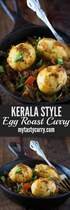 Kerala Egg roast is dry/semi-dry spicy egg curry to serve with Hot and fluffy appams or idiyappam as traditional Kerala breakfast. This egg roast dry curry is also known as nadan mutta roast in Kerala.