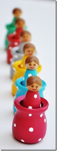 Color matching doll pegs with their own little nest  :)