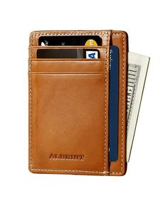 Buy Front Pocket Minimalist Wallet RFID Leather Slim Card Holder - Classic Orange - Vegetable Tanned / - and More Fashion Bags at Affordable Prices. Front Pocket Wallet, Pocket Cards, Minimalist Leather Wallet, Rfid Wallet, Card Holder, Leather Wallets, Men's Leather, Leather Design, Men's Bags
