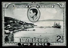 "AUSTRALIAN TERRITORIES - PAPUA 1937 Pictorials stamp-size photographic reduction of 2d design showing Port Moresby Harbour, dated ""12/9/37"" with part oval 'Commonwealth.../Printing [Branch]/Fitzro[y]...' cachet in violet on the reverse. Unique!  Dealer Phoenix Auctions  Auction Minimum Bid: 460.00 AUD"