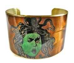 Medusa cuff bracelet brass or stainless steel