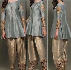 Just sleeve's & troser's work Stylish Dress Designs, Stylish Dresses, Casual Dresses, Fashion Dresses, Indian Attire, Indian Wear, Indian Outfits, Pakistani Wedding Outfits, Pakistani Dresses