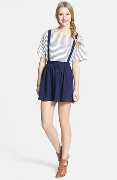 $32, Navy Skater Skirt: Lily White Suspender Skater Skirt Navy Medium. Sold by Nordstrom. Click for more info: https://lookastic.com/women/shop_items/82797/redirect