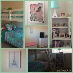 I finally finished Madison's room...The color scheme was Mint Green & Pink...The theme was PARIS...all the bedding and decor was from Target...and I'm very happy with how it turned out! Mint Green, Corner Desk, Color Schemes, Bedding, Target, Colour Schemes, Color Palettes, Bed Linen, Beds