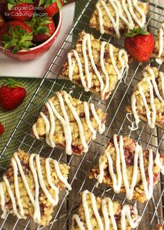 Strawberry Crumb Bars recipe - Crispy cookie crust dessert with a sweet strawberry layer, buttery crumble, and white chocolate glaze. A perfect treat for summer!