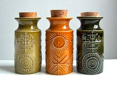 Magickal Ritual Sacred Tools: Vintage potion or storage bottles. The Portmeirion Totem range was designed by Susan Williams-Ellis; the bottles were first produced in the