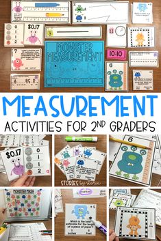 These measurement activities will get your students up and moving while practicing skills. Students will measure line segments, calculate perimeter, choose measurement tools, match digital to analog clocks, count coin combinations, and more!