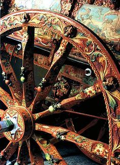 ~ this makes me want to cry It reminds me of my beautiful mother :) So passionately LOVELY! ~ Helena Caravan Gypsy Vardo Wagon: Detail of a wagon wheel.