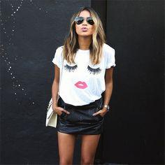 Creative Women Plus Size Loose Graphic Lip Print Pullover T-shirt