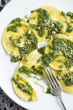 Recipe: Ravioli alla burrata with pistachio pesto || Photo: Evan Sung for The New York Times