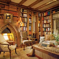 José Solís Betancourt was commissioned to work on this library featured in Architectural Digest - I really like the arch over the fireplace. Library Room, Dream Library, Cozy Library, Library Ideas, Future Library, Library Inspiration, Future Office, Beautiful Library, Beautiful Homes