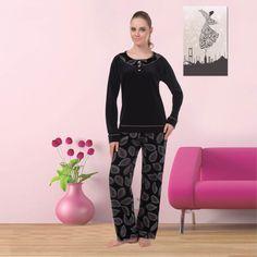 Mendo Pijama Takımı 588 - Yumuşak kadife kumaştan, yaprak desenli pijama takımı. - Uykustore.com | İyi uykular