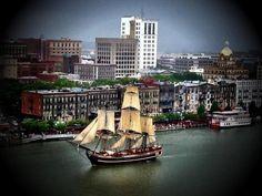 Ships On The River In Savannah Georgia