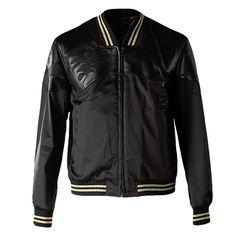 3.1 Phillip Lim Loose Fit Zip Up Harrington Jacket With Seamed Wave Applique (Multi)