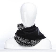 Foulard infini gris baroque et noir / longue écharpe par Annie 50