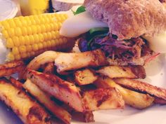 Slimming World BBQ pulled pork with chips and sweetcorn. Zero syns using healthy extra's A and B.