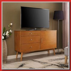 Your living or entertainment room can look even more stylish with this angelo:HOME Mid-Century TV Stand. This piece of furniture offers… Tv Stand Shelves, Tv Stand Cabinet, Room Shelves, Cabinet Drawers, Cupboard, Tv Stand Home Depot, Mid Century Console, Mid Century Rustic, Floating Tv Stand
