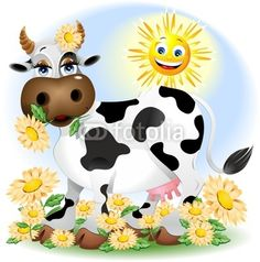 Springtime Cartoon Cow © Bluedarkat