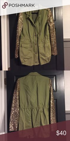 Sequin Sleeve Field Cargo Jacket Sequin Sleeve Field Cargo Jacket. Olive & Gold - Size Large. Brand is Vera & Lucy but listed as free people for views. Worn 3 times at most, in like new condition. Free People Jackets & Coats Utility Jackets
