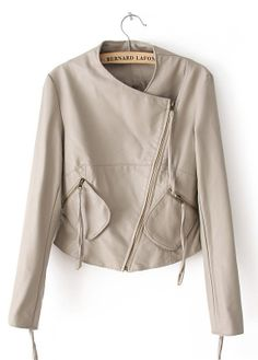 Beige Long Sleeve Zipper Pockets PU Jacket - Sheinside.com