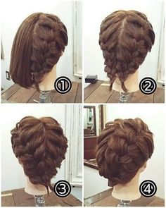 New hair tutorial short updo ideas Short Hair Braids Tutorial, Braids For Short Hair, Short Hair Cuts, Updo Tutorial, Braided Hairstyles Tutorials, Pretty Hairstyles, Girl Hairstyles, Wedding Hairstyles, Office Hairstyles