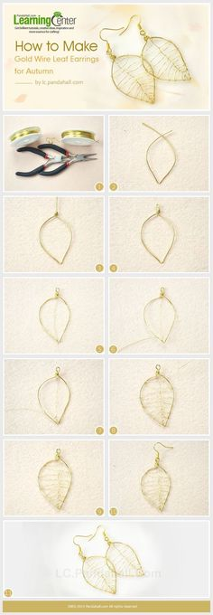 How to Make Gold Wire Leaf Earrings for Autumn by wanting - DIY Schmuck Ideen Wire Wrapped Jewelry, Metal Jewelry, Beaded Jewelry, Gold Leaf Jewelry Diy, High Jewelry, Crystal Jewelry, Homemade Jewelry, Diy Jewelry Making, Beginner Jewelry Making