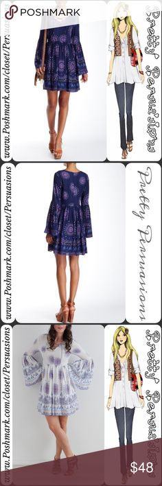 """NWT Medallion Mixed Print Bell Sleeve Dress Available in S, M, L Measurements taken from a small Length: 34"""" Bust: 34"""" Waist: 26""""  100% Rayon (Lining Poly)  Features • v-neck w/self tie, lace up closure • long bell sleeves • multicolored medallion mixed print throughout • lined; non-sheer • back zip & hook & eye closure  * White Combo Sold Out*  Model is 5'9"""";32""""-25""""-35"""" & wearing a small  Fair offers welcome - Plz use offer option Bundle discounts available No pp or trades  Item #…"""