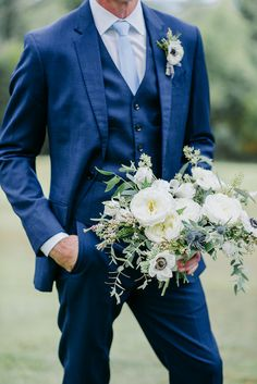 Boho Meets Modern in this North Georgia White Barn Wedding | The Perfect Palette Navy Suit Blue Tie, Blue Groomsmen Suits, Light Blue Suit, Groom And Groomsmen Attire, Blue Suit Groom, Navy Groom, Blue Suits, Mens Wedding Suits Navy, Wedding Outfits For Groom