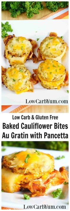 Get them to eat their veggies with these yummy baked cauliflower bites au gratin with pancetta. With all the cheese, they may not notice its a veggie. | LowCarbYum.com