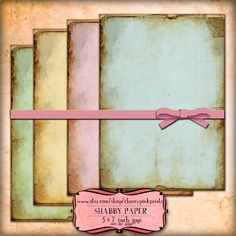 SHABBY PAPER collage sheet, 4 designs, supplies for scrapbooking collage digital download