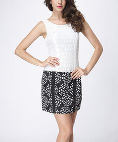 This Black & White Abstract Lace Dress by JohnFashion is perfect! #zulilyfinds 32.99