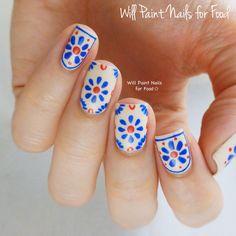 Talavera Pottery-inspired nail art