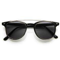 Dapper Vintage Inspired Indie Clear Lens Wayfarer Clip On Sunglasses 9 | zeroUV