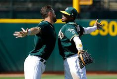 Davis hits 7th home run as A's rout Rangers 9-1  -  April 19, 2017:          Oakland Athletics' Trevor Plouffe, left, and Rajai Davis celebrate after the team's baseball game against the Texas Rangers in Oakland, Calif., Wednesday, April 19, 2017. The Athletics won 9-1.