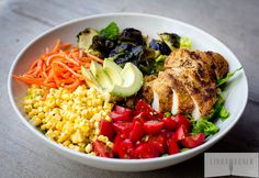 Rainbow Salad with Balsamic Roasted Brussels & Paleo Almond Crusted Chicken via Linda Wagner