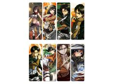 Package of eight bookmarks with characters from Shingeki no Kyojin (Attack on Titan) anime series. Eight plastic bookmarks with dimensions of 4 x 11 cm, with printed designs.