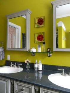 Grey and chartreuse. My new master bath. I'm all about color.