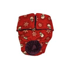 Snowman and Star Snowflakes on Red Washable Dog Diaper